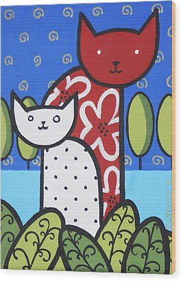 Cats 1 Wood Print by Trudie Canwood
