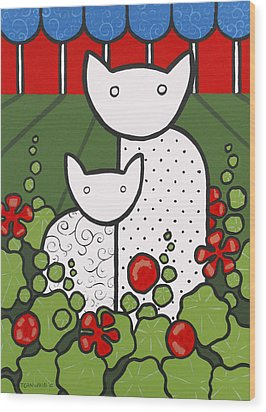 Cats 5 Wood Print by Trudie Canwood