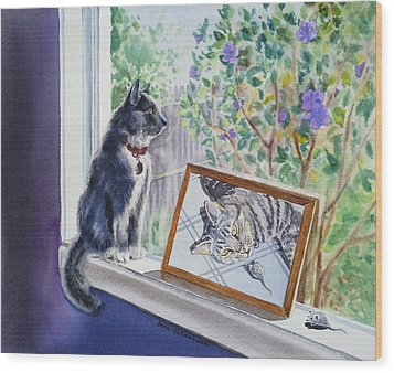 Cats And Mice Sweet Memories Wood Print by Irina Sztukowski