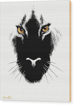 Wood Print featuring the digital art Cat's Eyes by Aaron Blaise