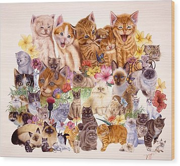 Cats Wood Print by John YATO