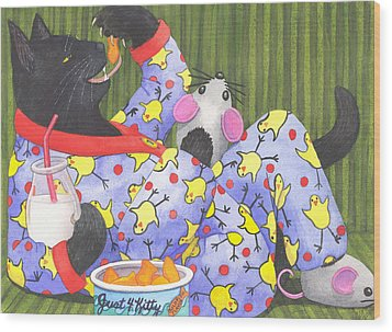 Cats Pajamas Wood Print by Catherine G McElroy
