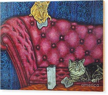 Cats Playing X Box Wood Print by Jay  Schmetz