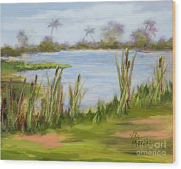 Wood Print featuring the painting Cattails And Palms by Vic  Mastis
