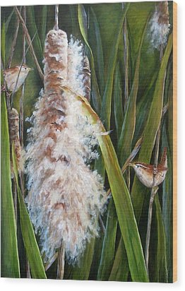 Cattails And Wrens Wood Print by Mary McCullah