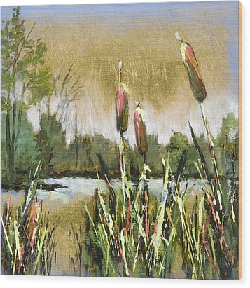 Cattails At Forest Park Wood Print by Vic  Mastis