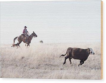 Cattle Drive Wood Print by Cindy Singleton