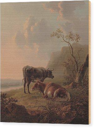 Cattle In An Italianate Landscape Wood Print