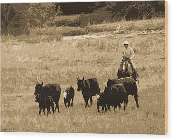 Cattle Round Up Sepia Wood Print