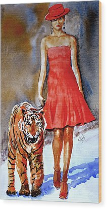 Wood Print featuring the painting Catwalk by Steven Ponsford