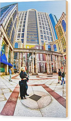 Caught In The Geometry Of Boylston Street Wood Print by Mark E Tisdale