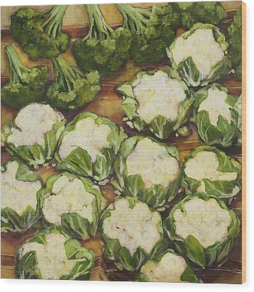 Cauliflower March Wood Print by Jen Norton