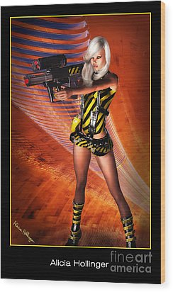 Caution Sci-fi Blonde With A Gun Wood Print