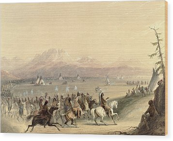 Cavalcade Wood Print by Alfred Jacob Miller