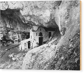 Wood Print featuring the photograph cave church on Mt Olympus Greece by Nina Ficur Feenan