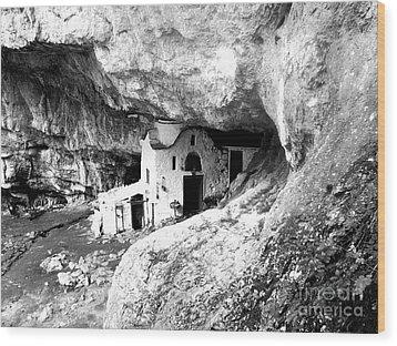 cave church on Mt Olympus Greece Wood Print by Nina Ficur Feenan