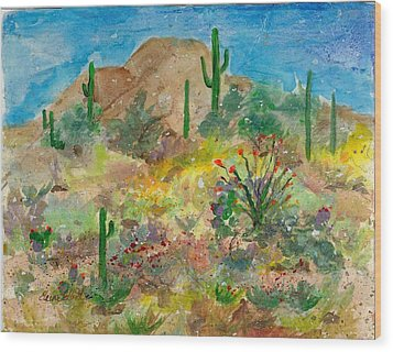 Wood Print featuring the painting Cave Creek Ocotillo Bloom by Elaine Elliott