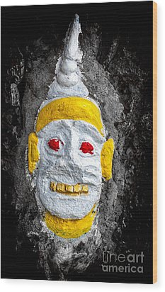 Cave Face 4 Wood Print by Adrian Evans