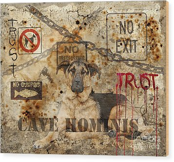 Cave Hominis Wood Print by Judy Wood