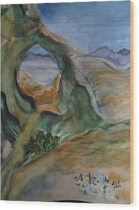 Cave In The Desert Wood Print