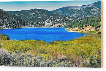 Cave Lake Wood Print by Robert Bales
