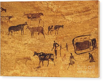 Cave Painting South Algeria Wood Print by George Holton