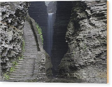 Cavern Cascade Beyond The Stone Stairs Wood Print by Gene Walls