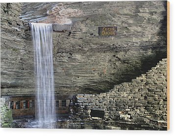 Wood Print featuring the photograph Cavern Cascade by Gene Walls