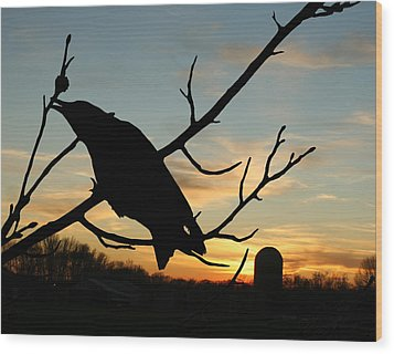 Cawcaw Over Sunset Silhouette Art Wood Print by Lesa Fine