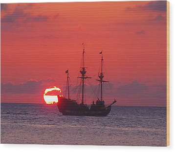 Cayman Sunset Wood Print by Carey Chen