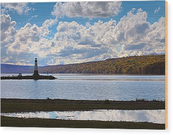 Wood Print featuring the photograph Cayuga Lake In Colorful Fall Ithaca New York IIi by Paul Ge