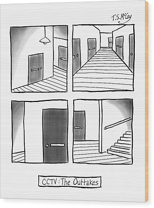 Cctv: The Outtakes -- Four Panels Of Security Wood Print by T.S. McCoy