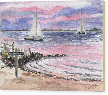 Cedar Beach Pinks Wood Print