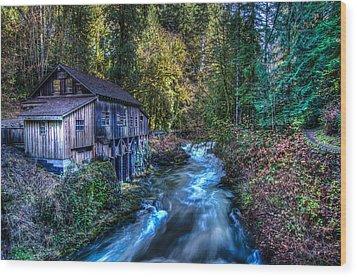 Cedar Creek Grist Mill Wood Print by Puget  Exposure