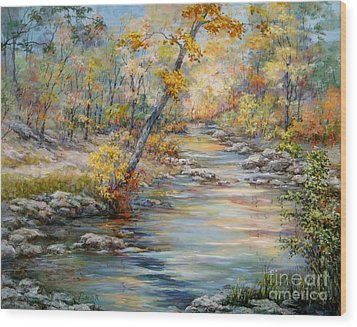 Cedar Creek Trail Wood Print by Virginia Potter