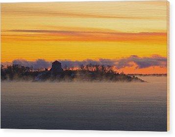 Cedar Island Morning Mist Wood Print by Paul Wash