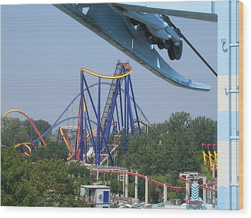 Cedar Point - Mantis - 121211 Wood Print by DC Photographer