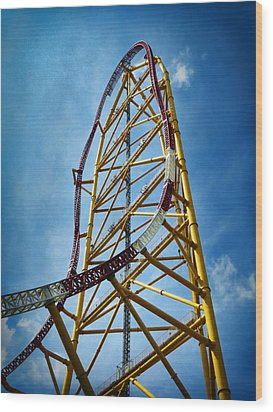 Cedar Point - Top Thrill Dragster Wood Print by Shawna Rowe