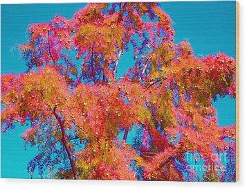 Celebrate Autumn Wood Print by Ann Johndro-Collins
