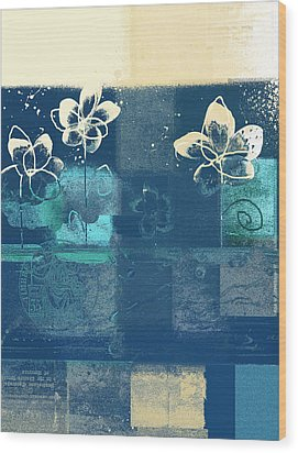 Celebrate - Blue3tx2 Wood Print by Variance Collections