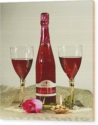 Celebrate With Sparkling Rose Wine Wood Print by Inspired Nature Photography Fine Art Photography