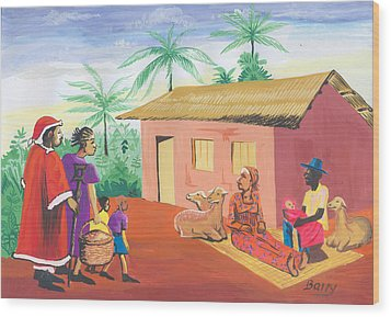Wood Print featuring the painting Celebration Of The Nativity In Cameroon by Emmanuel Baliyanga