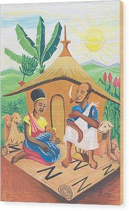 Wood Print featuring the painting Celebration Of The Nativity In Rwanda by Emmanuel Baliyanga
