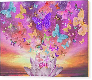Celestial Butterfly Wood Print by Alixandra Mullins