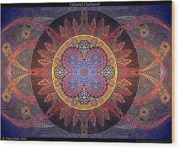 Celestial Clockwork Wood Print by Travis Hunt