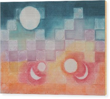 Celestial Matrix Wood Print by Diana Perfect