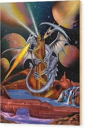 Celestian Dragon Wood Print by Glenn Holbrook