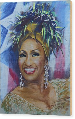 Celia Cruz Wood Print by Viola El
