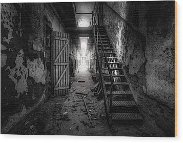 Cell Block - Historic Ruins - Penitentiary - Gary Heller Wood Print by Gary Heller