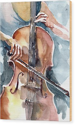 Cellist Wood Print by Faruk Koksal